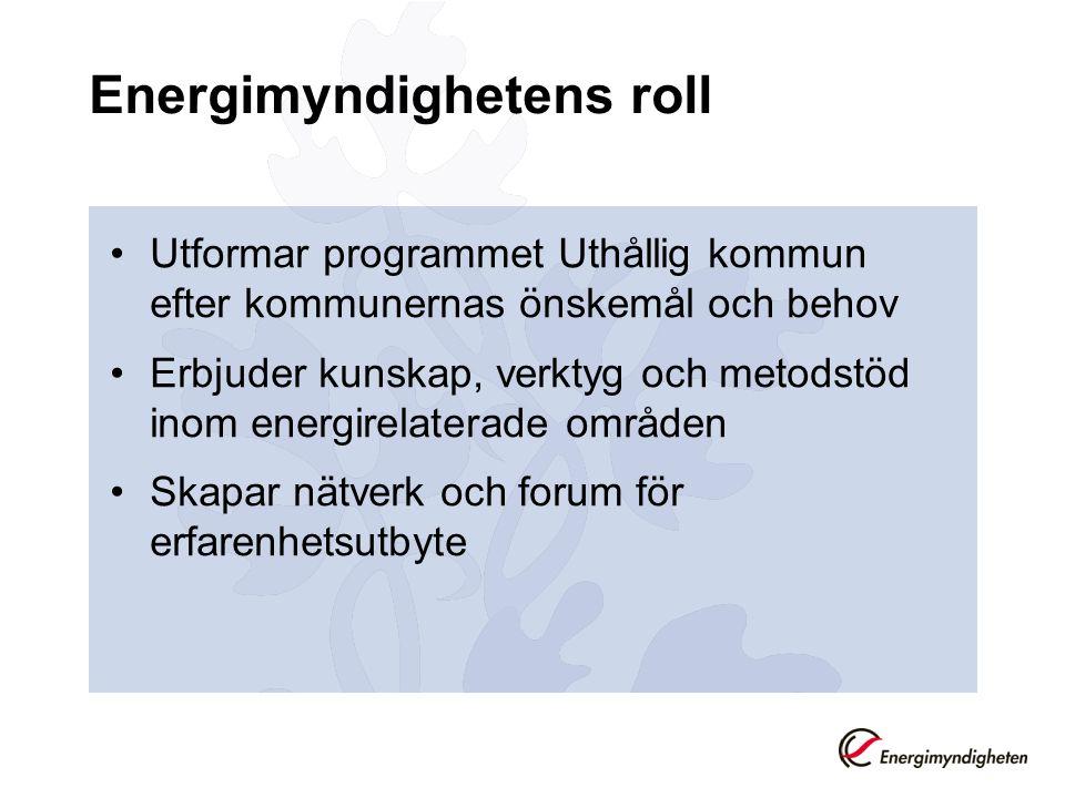Energimyndighetens roll •Utformar programmet Uthållig kommun efter kommunernas önskemål och behov •Erbjuder kunskap, verktyg och metodstöd inom energi