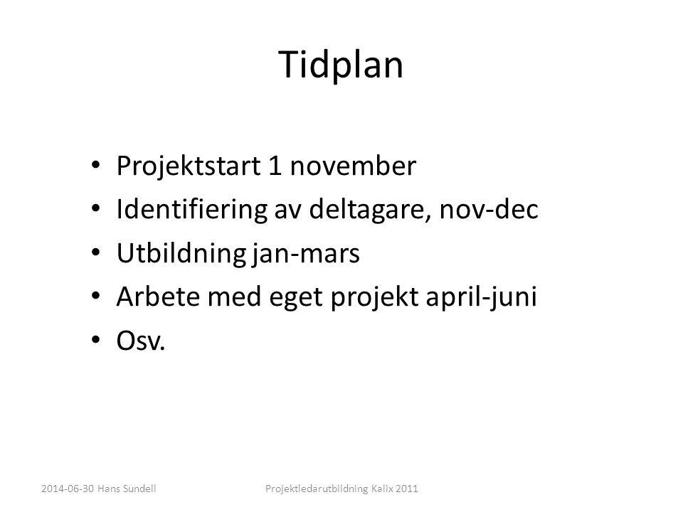 Tidplan • Projektstart 1 november • Identifiering av deltagare, nov-dec • Utbildning jan-mars • Arbete med eget projekt april-juni • Osv. 2014-06-30 H