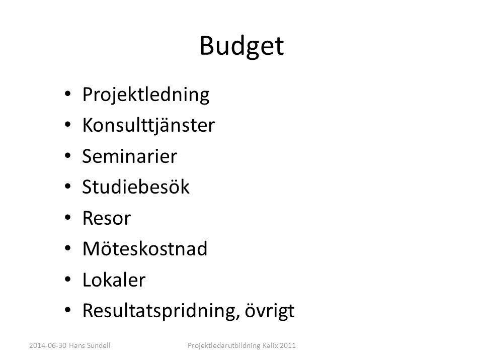 Budget • Projektledning • Konsulttjänster • Seminarier • Studiebesök • Resor • Möteskostnad • Lokaler • Resultatspridning, övrigt 2014-06-30 Hans SundellProjektledarutbildning Kalix 2011