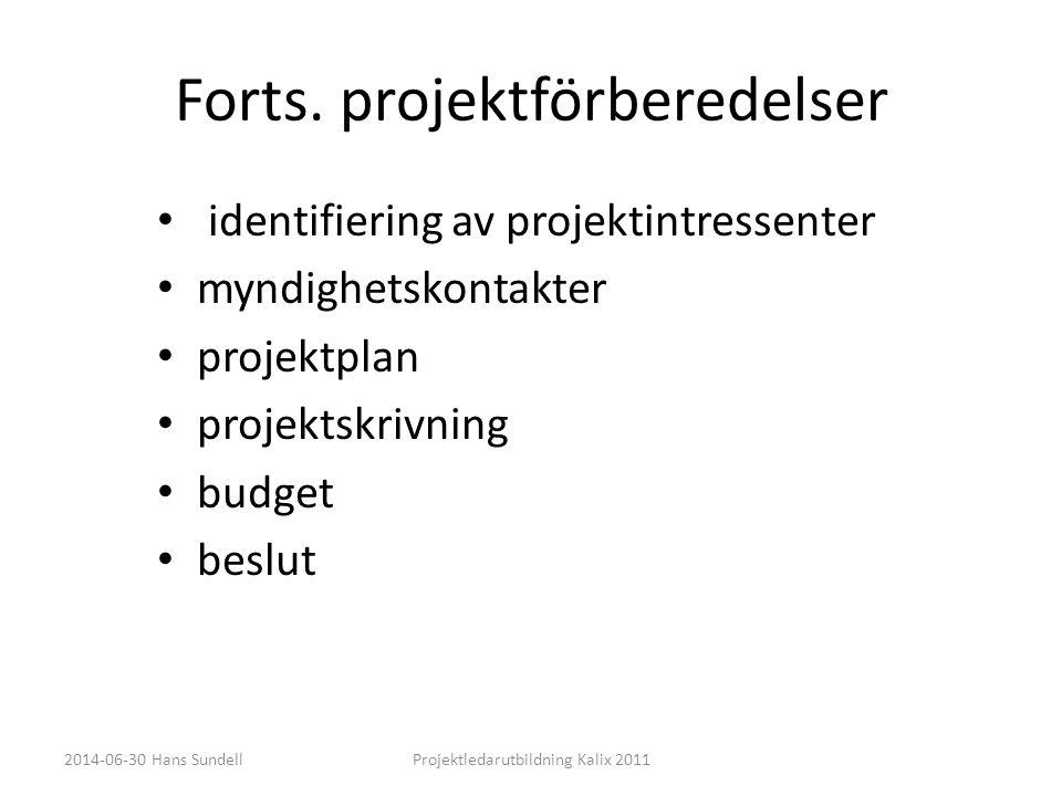 Forts. projektförberedelser • identifiering av projektintressenter • myndighetskontakter • projektplan • projektskrivning • budget • beslut 2014-06-30
