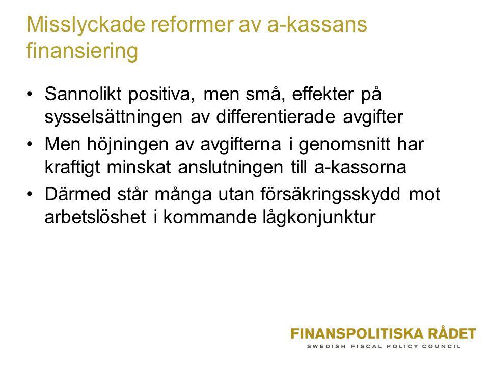 Misslyckade reformer av a-kassans finansiering •Sannolikt positiva, men små, effekter på sysselsättningen av differentierade avgifter •Men höjningen av avgifterna i genomsnitt har kraftigt minskat anslutningen till a-kassorna •Därmed står många utan försäkringsskydd mot arbetslöshet i kommande lågkonjunktur