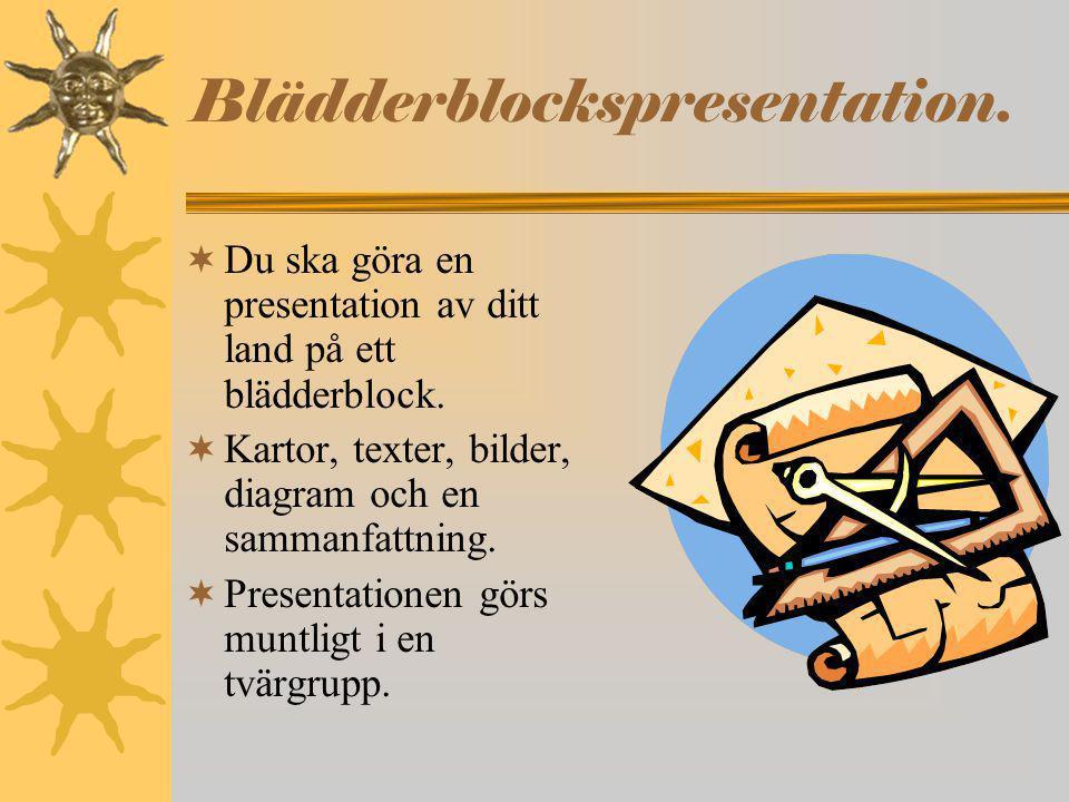 Blädderblockspresentation.  Du ska göra en presentation av ditt land på ett blädderblock.  Kartor, texter, bilder, diagram och en sammanfattning. 