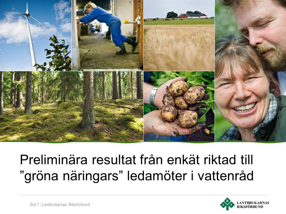 Sid 1 | Lantbrukarnas Riksförbund Preliminära resultat från enkät riktad till gröna näringars ledamöter i vattenråd