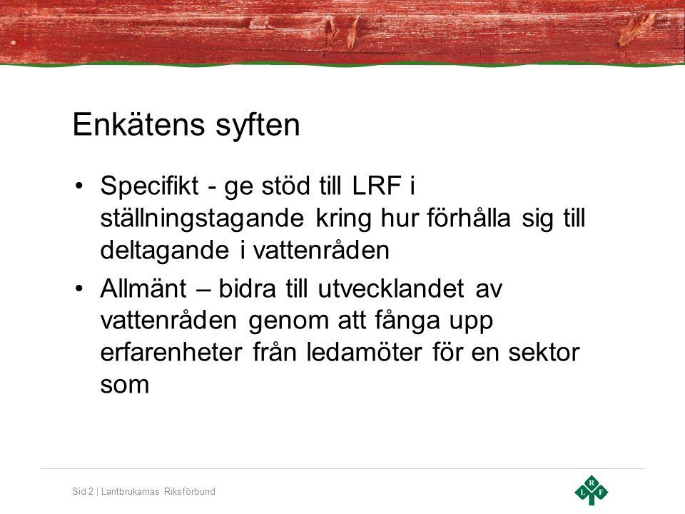 Sid 3 | Lantbrukarnas Riksförbund Enkätens uppläggning •Ansvarig genomförare: Dr Magnus Ljung, SLU – han är den som har analyserat resultaten •Web-enkät •Utskick till ca 120 •Svarsrespons ca 40 •Postutskick (pågår)