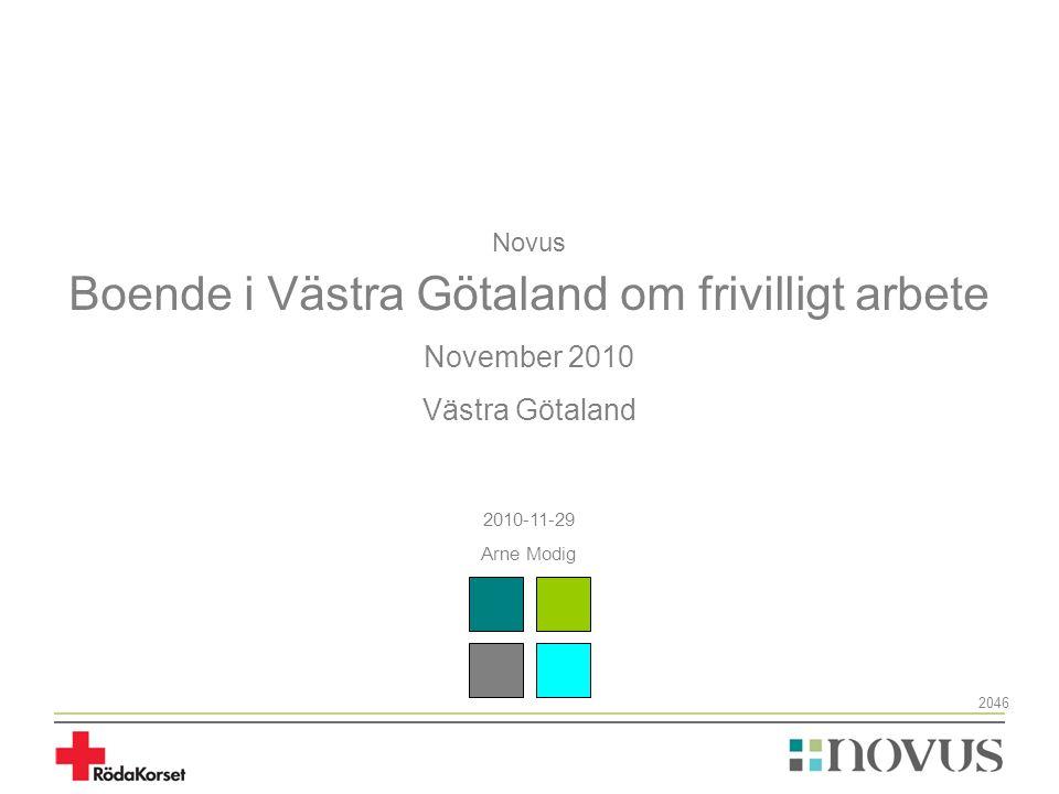 Novus Boende i Västra Götaland om frivilligt arbete November 2010 Västra Götaland 2010-11-29 Arne Modig 2046