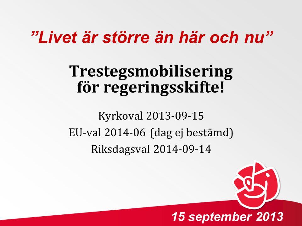 """Trestegsmobilisering för regeringsskifte! Kyrkoval 2013-09-15 EU-val 2014-06 (dag ej bestämd) Riksdagsval 2014-09-14 15 september 2013 """"Livet är störr"""