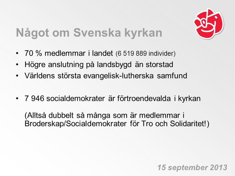 Något om Svenska kyrkan •70 % medlemmar i landet (6 519 889 individer) •Högre anslutning på landsbygd än storstad •Världens största evangelisk-luthers