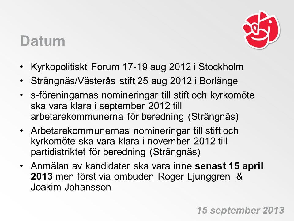 Datum •Kyrkopolitiskt Forum 17-19 aug 2012 i Stockholm •Strängnäs/Västerås stift 25 aug 2012 i Borlänge •s-föreningarnas nomineringar till stift och k
