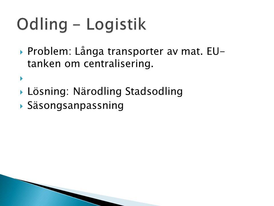 Problem: Långa transporter av mat. EU- tanken om centralisering.