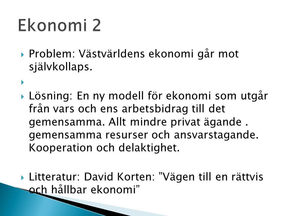  Problem: Västvärldens ekonomi går mot självkollaps.