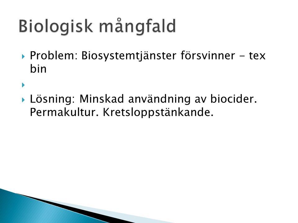  Problem: Biosystemtjänster försvinner - tex bin   Lösning: Minskad användning av biocider.