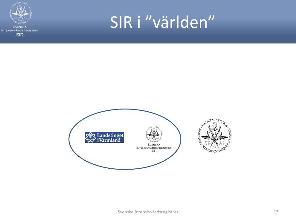 """SIR i """"världen"""" Svenska Intensivvårdsregistret13"""