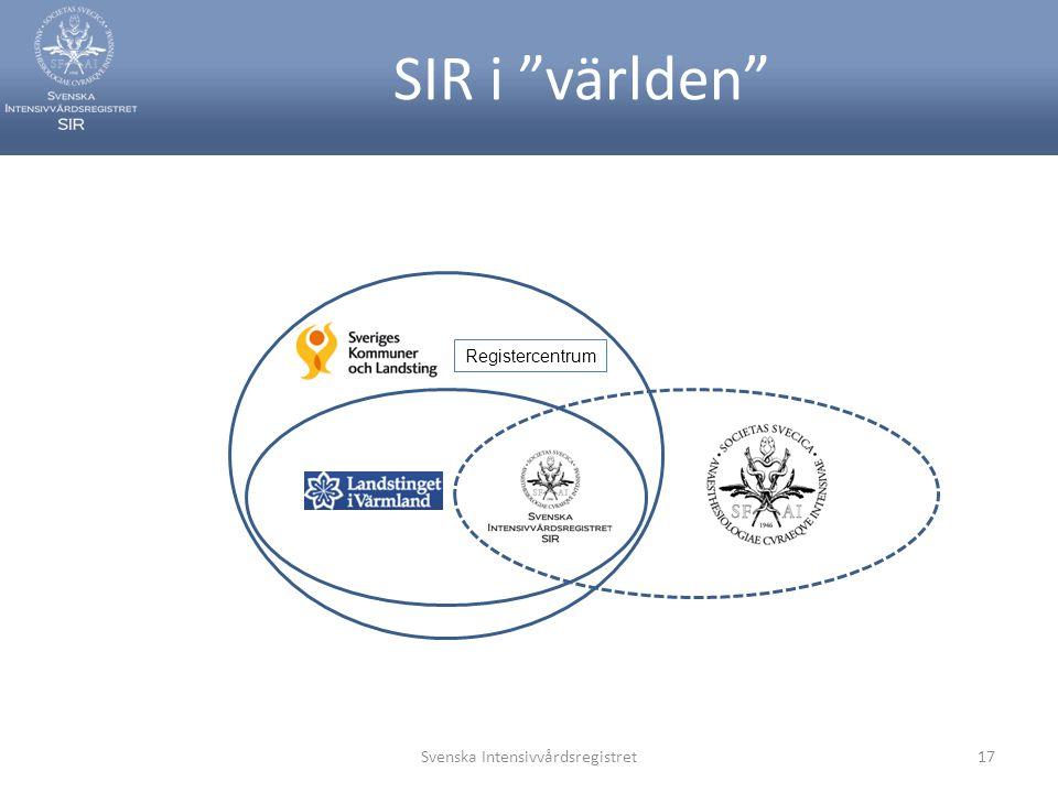 """SIR i """"världen"""" Svenska Intensivvårdsregistret17 Registercentrum"""