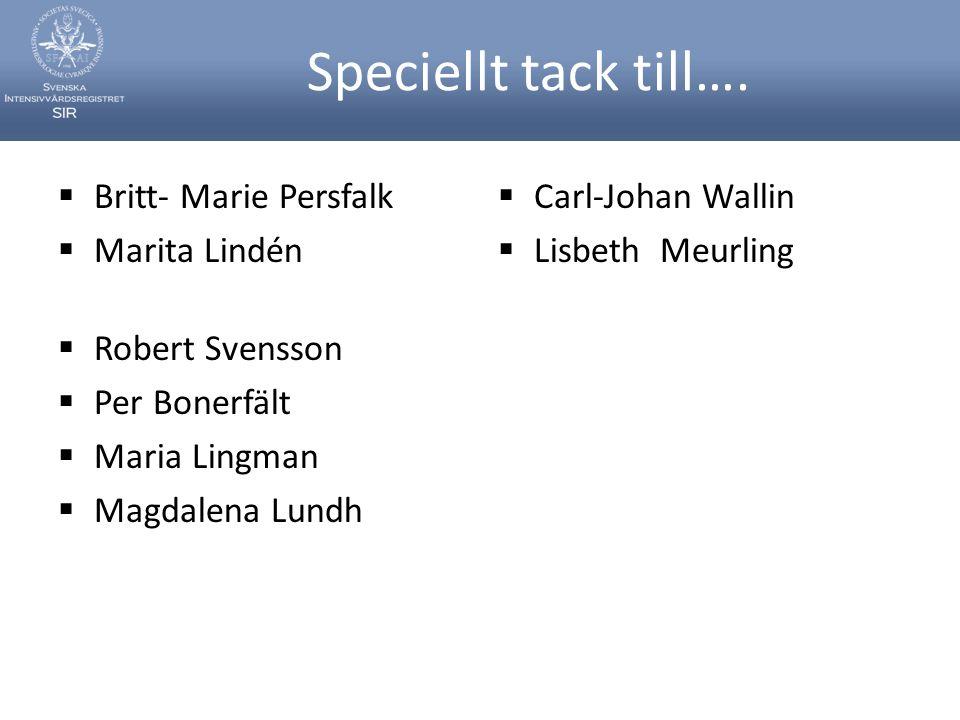Speciellt tack till….  Britt- Marie Persfalk  Marita Lindén  Robert Svensson  Per Bonerfält  Maria Lingman  Magdalena Lundh  Carl-Johan Wallin
