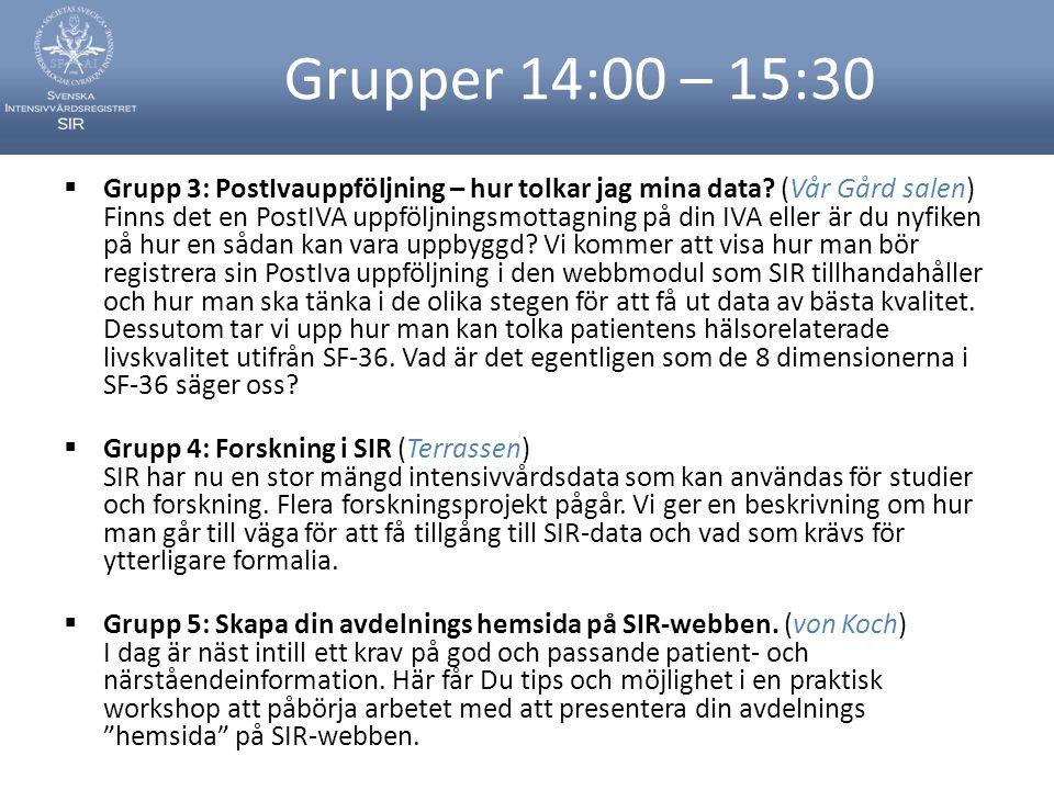 Grupper 14:00 – 15:30  Grupp 3: PostIvauppföljning – hur tolkar jag mina data? (Vår Gård salen) Finns det en PostIVA uppföljningsmottagning på din IV