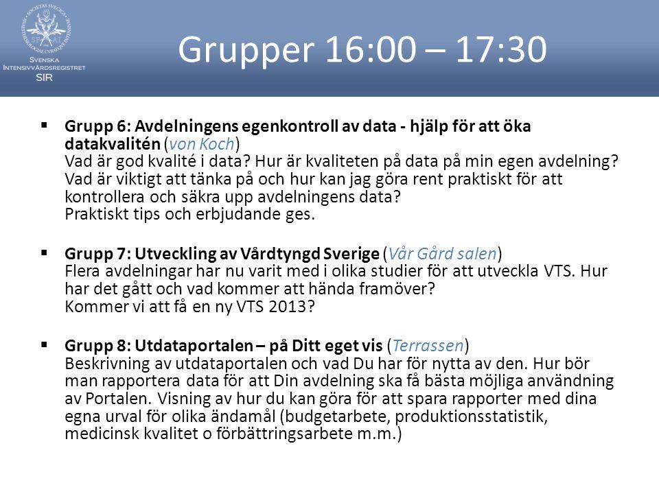 Grupper 16:00 – 17:30  Grupp 6: Avdelningens egenkontroll av data - hjälp för att öka datakvalitén (von Koch) Vad är god kvalité i data? Hur är kvali