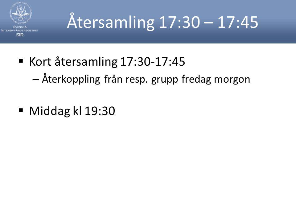 Återsamling 17:30 – 17:45  Kort återsamling 17:30-17:45 – Återkoppling från resp. grupp fredag morgon  Middag kl 19:30