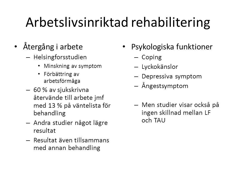 Arbetslivsinriktad rehabilitering • Återgång i arbete – Helsingforsstudien • Minskning av symptom • Förbättring av arbetsförmåga – 60 % av sjukskrivna