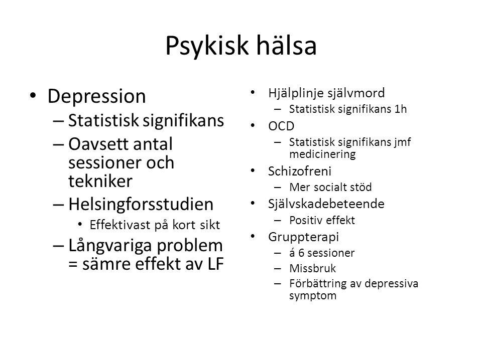 Psykisk hälsa • Depression – Statistisk signifikans – Oavsett antal sessioner och tekniker – Helsingforsstudien • Effektivast på kort sikt – Långvarig