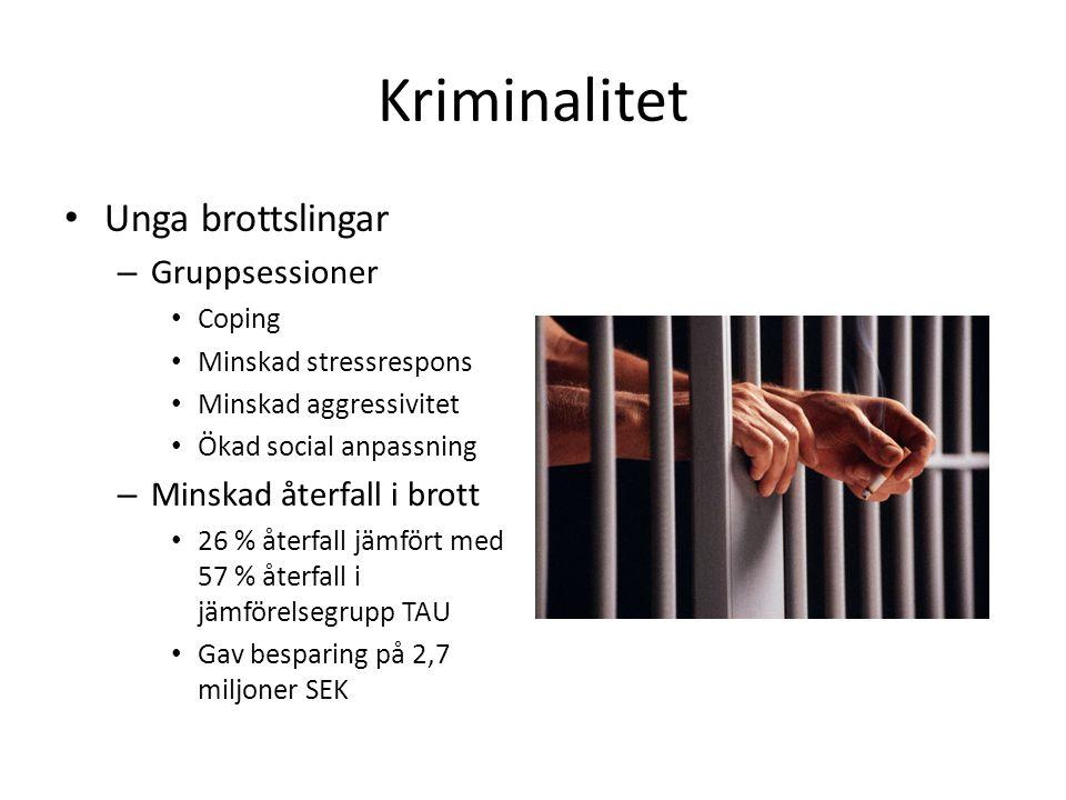 Kriminalitet • Unga brottslingar – Gruppsessioner • Coping • Minskad stressrespons • Minskad aggressivitet • Ökad social anpassning – Minskad återfall