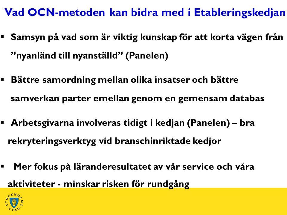"""Vad OCN-metoden kan bidra med i Etableringskedjan  Samsyn på vad som är viktig kunskap för att korta vägen från """"nyanländ till nyanställd"""" (Panelen)"""