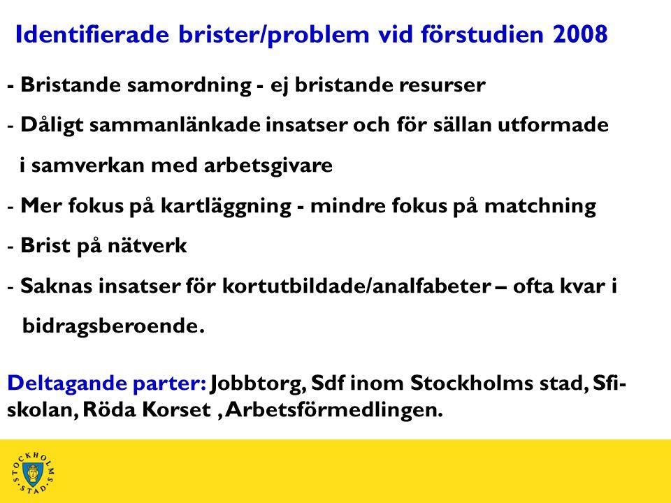 Identifierade brister/problem vid förstudien 2008 - Bristande samordning - ej bristande resurser - Dåligt sammanlänkade insatser och för sällan utform