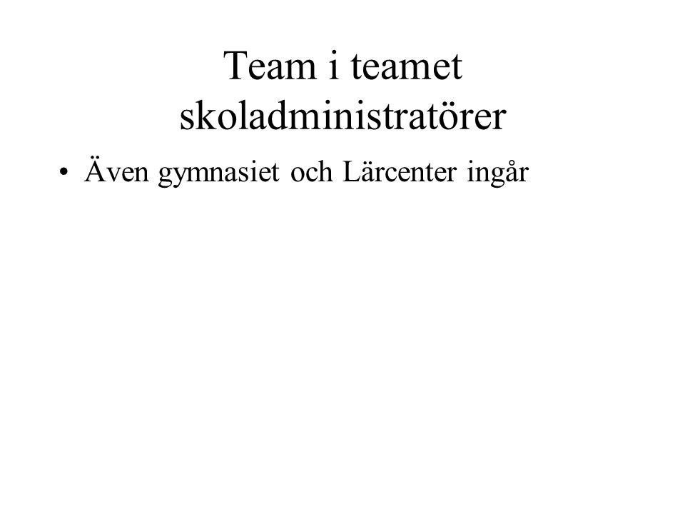 Team i teamet skoladministratörer •Även gymnasiet och Lärcenter ingår