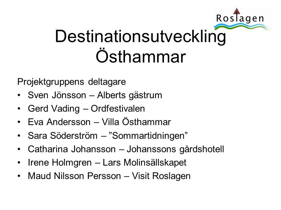 Destinationsutveckling Östhammar •Mål för arbetet –Gemensam syn på hur destinationen ska utvecklas •Mål för destinationen •Utvecklingsområden •Organisering/finansiering –Utvecklingsmodell som kan användas av andra destinationer i Roslagen