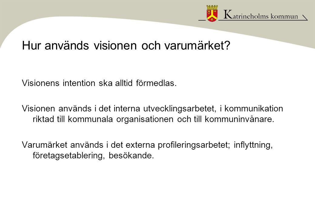 Hur används visionen och varumärket? Visionens intention ska alltid förmedlas. Visionen används i det interna utvecklingsarbetet, i kommunikation rikt