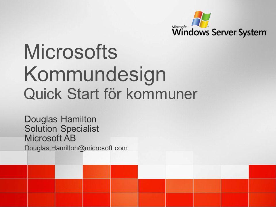 Microsofts Kommundesign Quick Start för kommuner Douglas Hamilton Solution Specialist Microsoft AB Douglas.Hamilton@microsoft.com