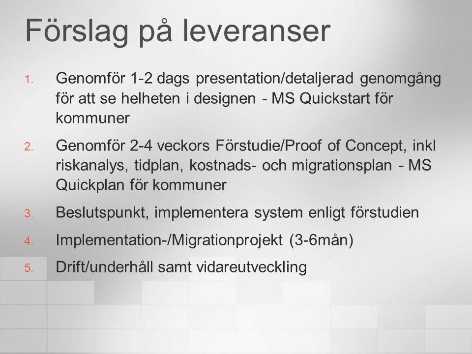 Förslag på leveranser 1. Genomför 1-2 dags presentation/detaljerad genomgång för att se helheten i designen - MS Quickstart för kommuner 2. Genomför 2