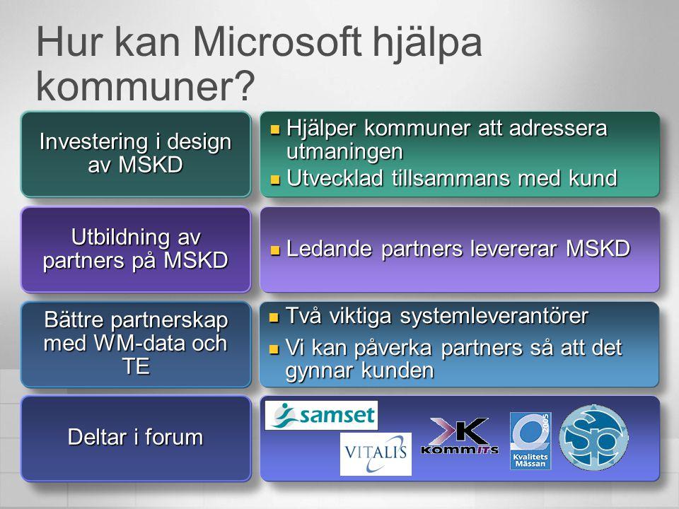 Hur kan Microsoft hjälpa kommuner? Investering i design av MSKD  Hjälper kommuner att adressera utmaningen  Utvecklad tillsammans med kund Bättre pa