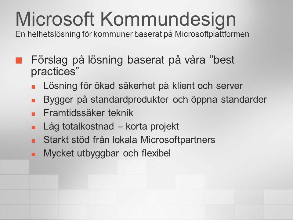 """Microsoft Kommundesign En helhetslösning för kommuner baserat på Microsoftplattformen Förslag på lösning baserat på våra """"best practices""""  Lösning fö"""