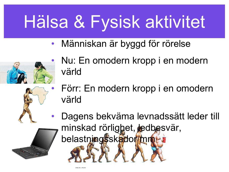 Hälsa & Fysisk aktivitet •Människan är byggd för rörelse •Nu: En omodern kropp i en modern värld •Förr: En modern kropp i en omodern värld •Dagens bek