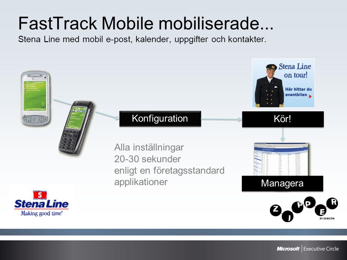 FastTrack Mobile mobiliserade... Stena Line med mobil e-post, kalender, uppgifter och kontakter. Konfiguration Alla inställningar 20-30 sekunder enlig