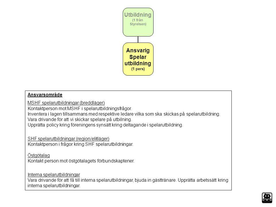 Utbildning (1 från Styrelsen) Ansvarig Spelar utbildning (1 pers) Ansvarsområde MSHF spelarutbildningar (breddläger) Kontaktperson mot MSHF i spelarut