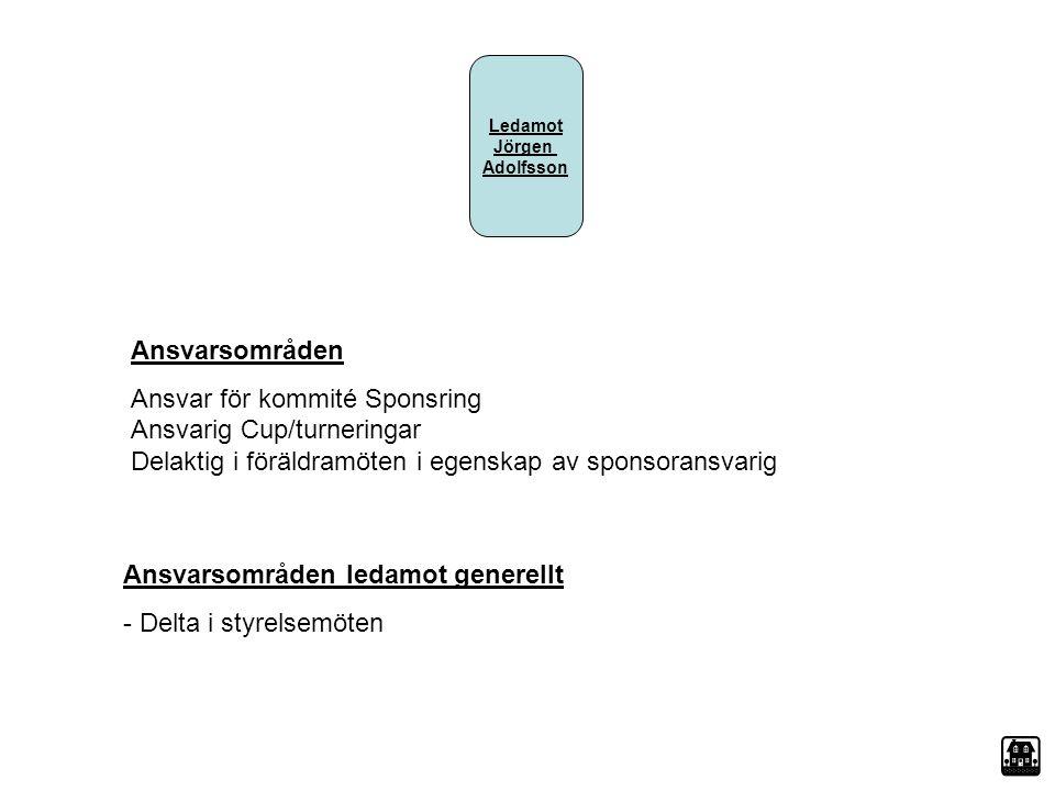 Ledamot Jörgen Adolfsson Ansvarsområden Ansvar för kommité Sponsring Ansvarig Cup/turneringar Delaktig i föräldramöten i egenskap av sponsoransvarig A