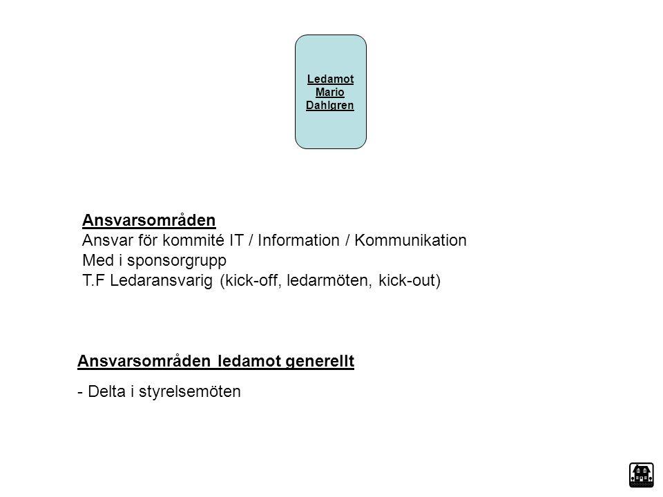 Ledamot Mario Dahlgren Ansvarsområden Ansvar för kommité IT / Information / Kommunikation Med i sponsorgrupp T.F Ledaransvarig (kick-off, ledarmöten,
