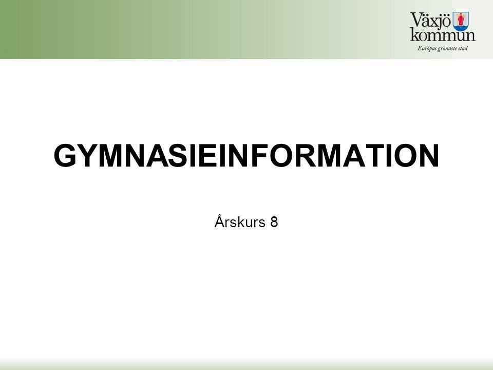 Gymnasium Kronoberg •Gymnasium Kronoberg –Som elev från Växjö har du rätt att söka till samtliga gymnasieutbildningar i Kronobergs län •http://gymnasium.kronoberg.sehttp://gymnasium.kronoberg.se