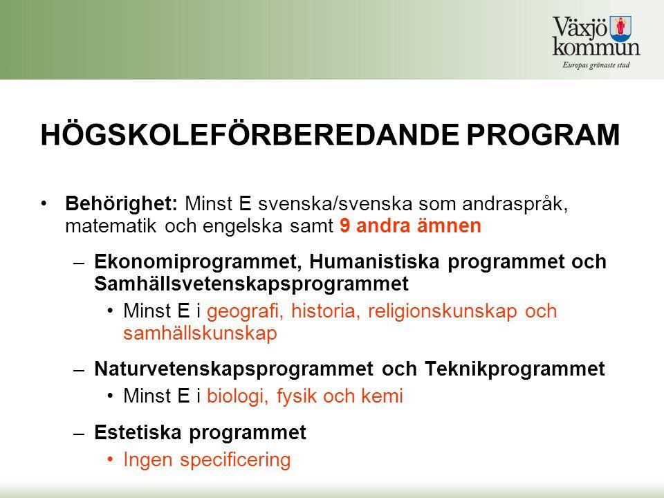 HÖGSKOLEFÖRBEREDANDE PROGRAM •Behörighet: Minst E svenska/svenska som andraspråk, matematik och engelska samt 9 andra ämnen –Ekonomiprogrammet, Humani