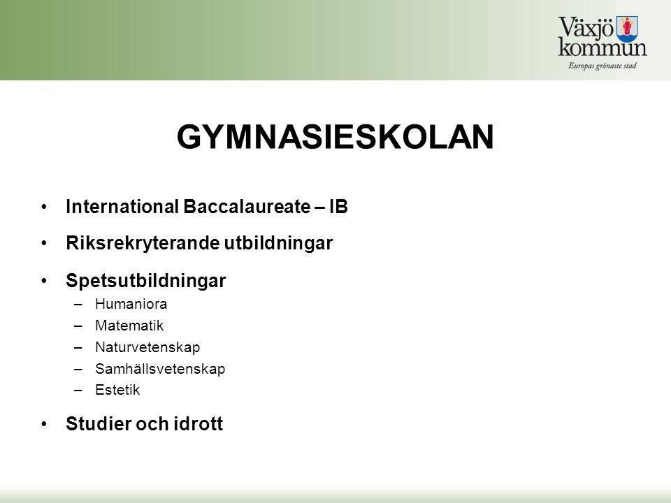 GYMNASIESKOLAN •International Baccalaureate – IB •Riksrekryterande utbildningar •Spetsutbildningar –Humaniora –Matematik –Naturvetenskap –Samhällsvete