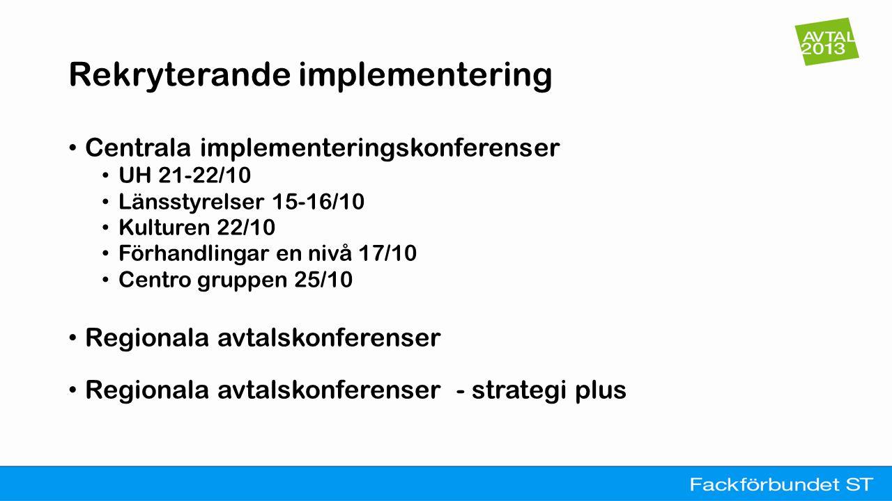 Rekryterande implementering • Centrala implementeringskonferenser • UH 21-22/10 • Länsstyrelser 15-16/10 • Kulturen 22/10 • Förhandlingar en nivå 17/1