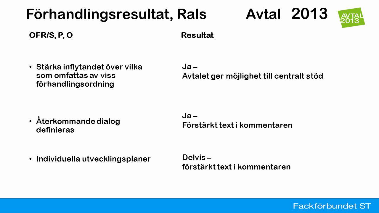 Förhandlingsresultat, Rals Avtal 2013 OFR / S, P, O Resultat • Förbättrat stöd vid lokal oenighet • Reglera lokal/lokal nivå Ja - Både i avtalet och kommentaren Ja - Både i avtalet och kommentaren Förtydligat vad differentiering innebär (ändamålsenlig).