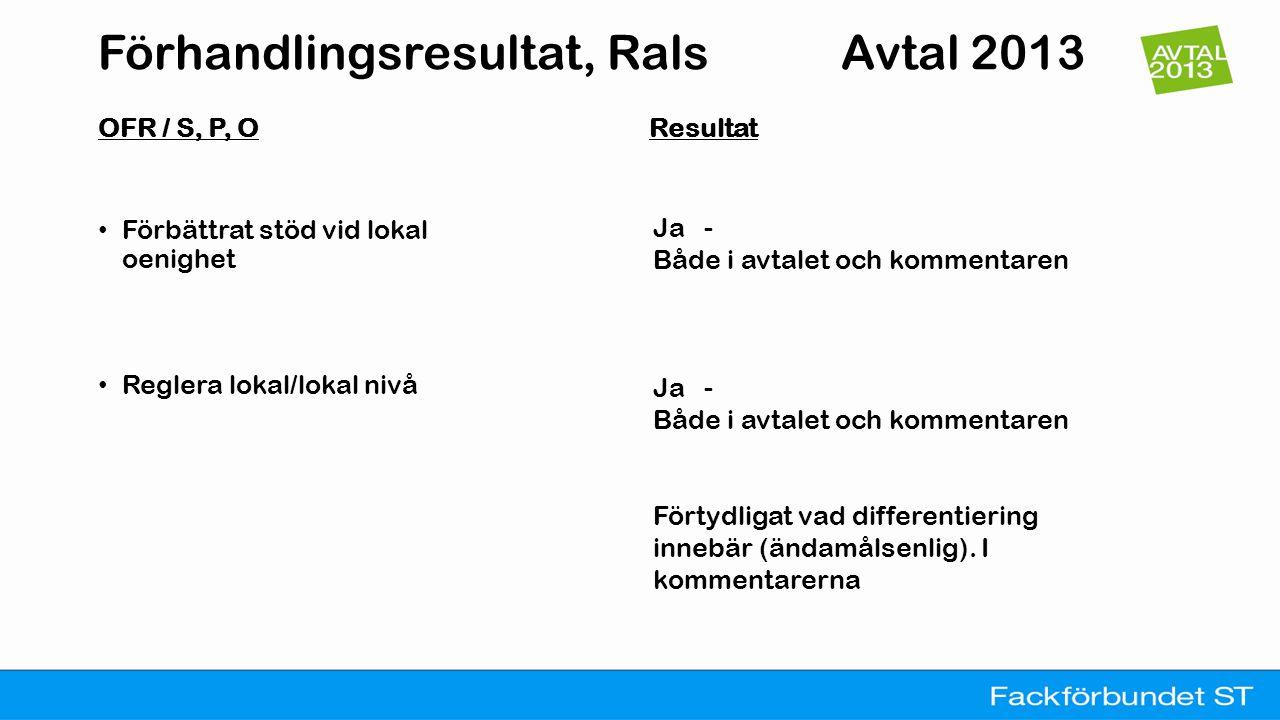 Förhandlingsresultat, VA/AVA Avtal 2013 ORF /S,P,O Resultat • Visstidsanställningar över totalt tre år inom femårsperiod, omvandlas till tillsvidareanställning • Centrala riktlinjer för lokala flextidsavtal • Semesterersättning ökas 0,05 % • Deltidssjuka medlemmar ska inte få semesterskuld Delvis – Central uppföljning av förekomsten av 'visstid' Ja – Arbete ska inledas med att ta fram skrift Nej Ja, Översyn ska göras