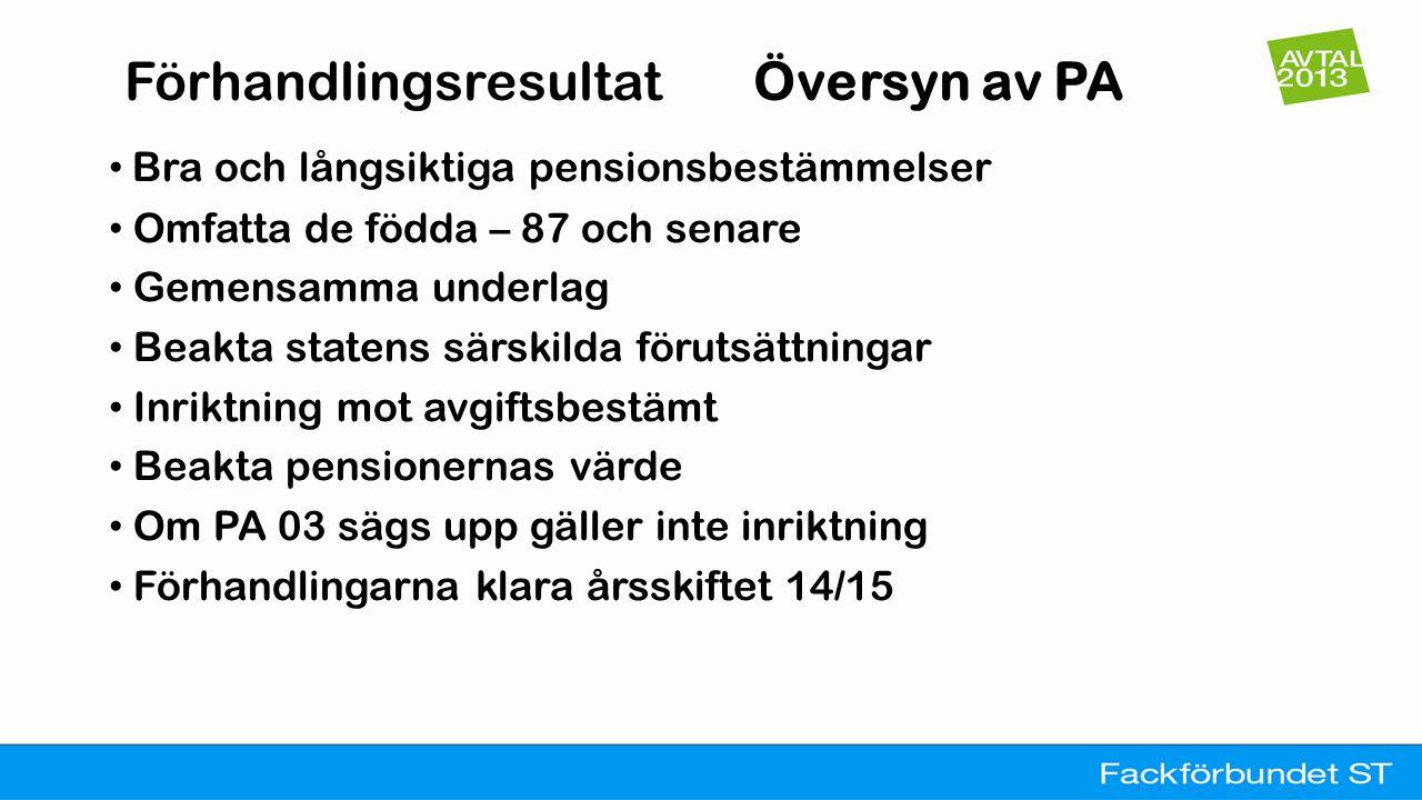 Förhandlingsresultat Översyn av PA • Bra och långsiktiga pensionsbestämmelser • Omfatta de födda – 87 och senare • Gemensamma underlag • Beakta staten