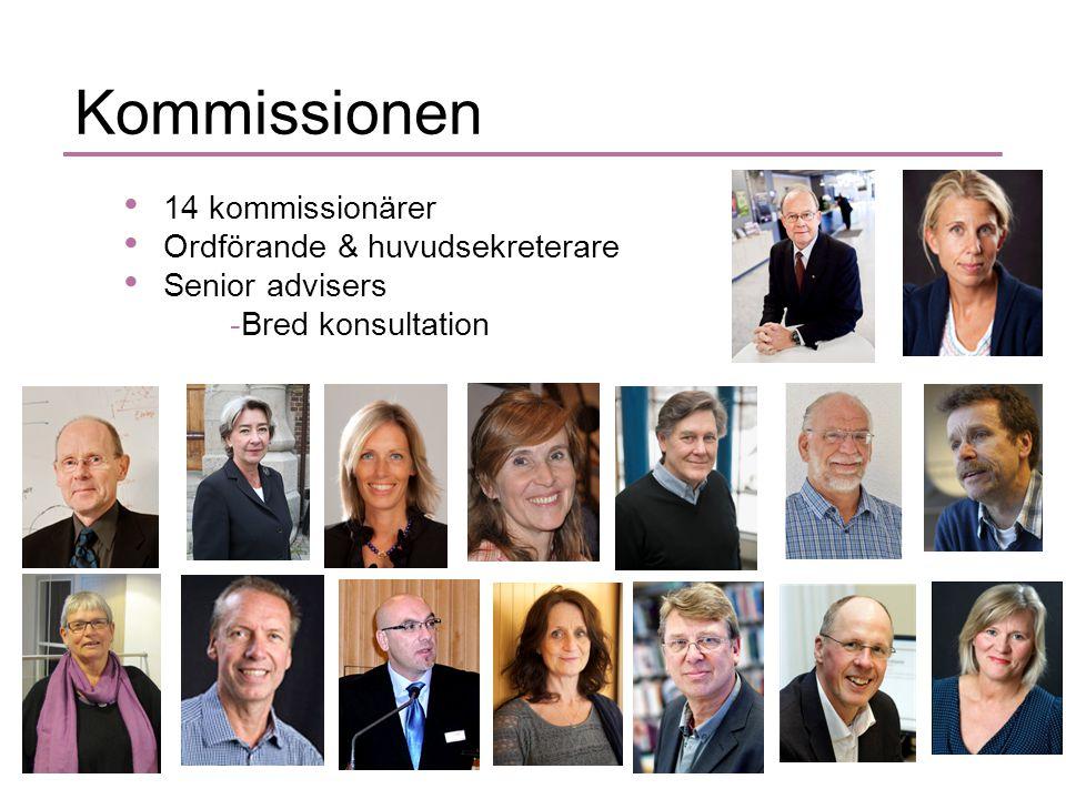 Kommissionen • 14 kommissionärer • Ordförande & huvudsekreterare • Senior advisers -Bred konsultation