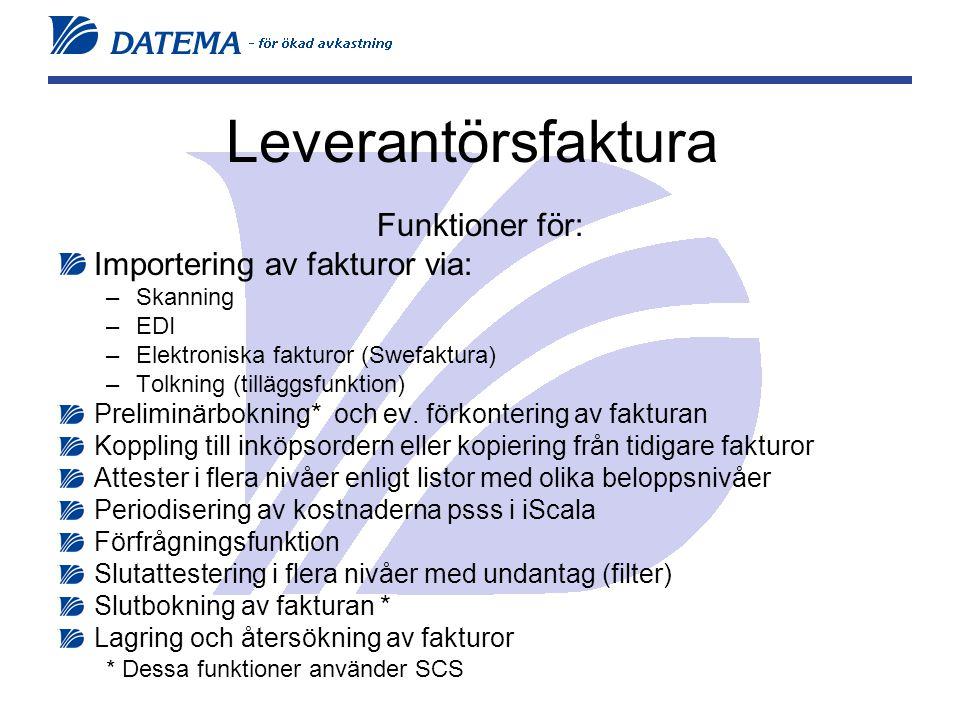 Leverantörsfaktura Funktioner för: Importering av fakturor via: –Skanning –EDI –Elektroniska fakturor (Swefaktura) –Tolkning (tilläggsfunktion) Preliminärbokning* och ev.