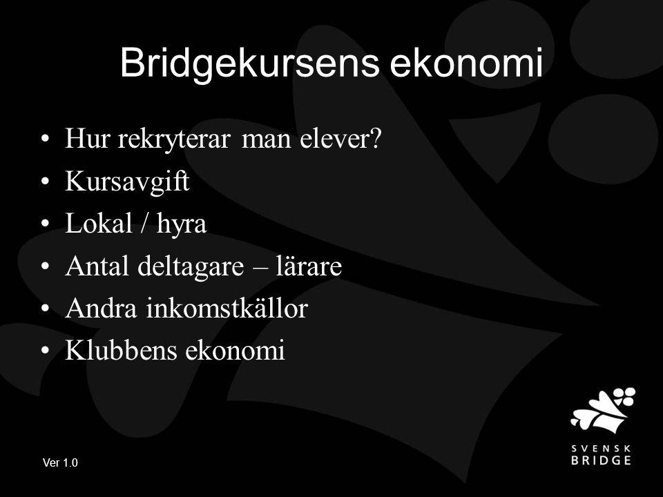 Ver 1.0 Bridgekursens ekonomi •Hur rekryterar man elever.