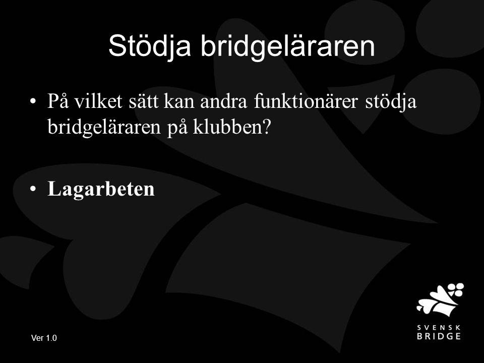 Ver 1.0 Stödja bridgeläraren •På vilket sätt kan andra funktionärer stödja bridgeläraren på klubben.