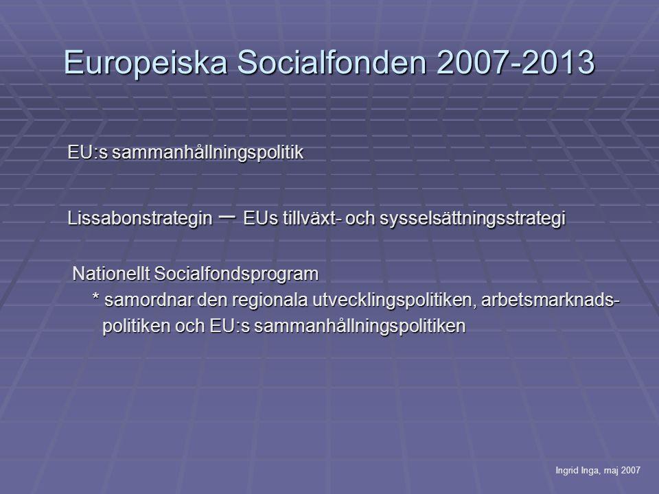 Europeiska Socialfonden 2007-2013 EU:s sammanhållningspolitik Lissabonstrategin – EUs tillväxt- och sysselsättningsstrategi Nationellt Socialfondsprogram Nationellt Socialfondsprogram * samordnar den regionala utvecklingspolitiken, arbetsmarknads- politiken och EU:s sammanhållningspolitiken politiken och EU:s sammanhållningspolitiken Ingrid Inga, maj 2007